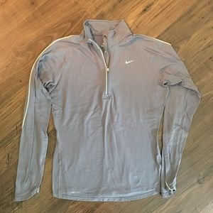 Nike Gray Dri-Fit Quarter Zip Pullover Sweatshirt